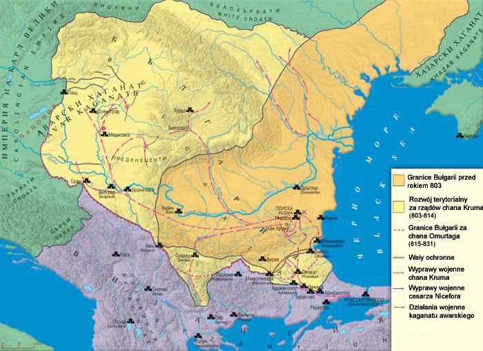 Граници на България при Крум — в оранжево до 803 г. + жълто при Крумовото управление