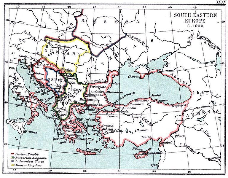 """Югоизточна Европа около 1000 сл.н.е (карта XXXV от """"Атлас към историческата география на Европа от Фриман"""", 1903)"""