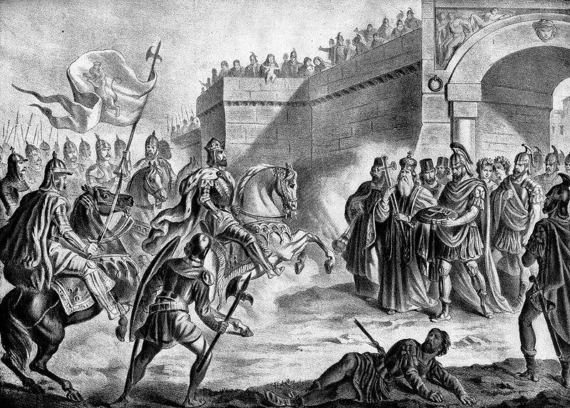 Симеон пред портите на Константинопол (графика Николай Павлович)