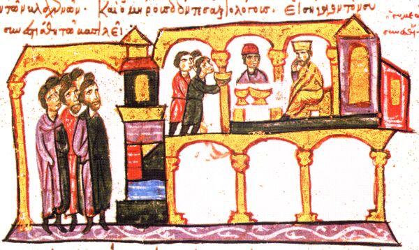Симеон и Константин VII на трапезата