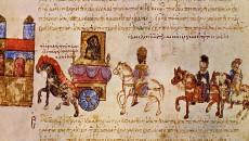 Завръщането и триумфа на Цимисхий в Константинопол заедно с пленените Борис II и Роман