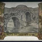 Мостът при Завоя на р. Черна - пощенска картичка. Худ. Николай Райнов
